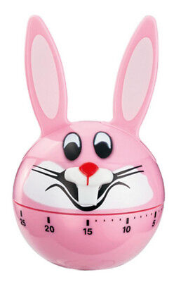 Wind Up 60 Minute Timer / Kitchen Timer Pink Bunny Rabbit Design Ringing Alarm