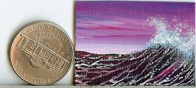 Original 1 x 1.5 Inch Sunset Ocean Waves Miniature Art Painting Picture HYMES