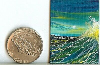 Original 1x1.5 Inch Collectible Ocean Waves Miniature Art Painting Picture HYMES