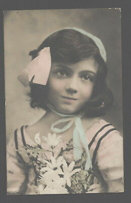 Mb7518 Big Image Of A  Pretty Victorian Girl With Pink Bow Rppc Hand. Col