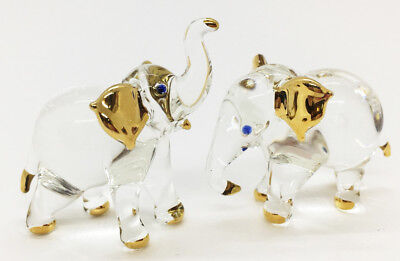 Elephant Blown Glass Art gift Figurine Animal Set Hand Blowing Collectible Decor