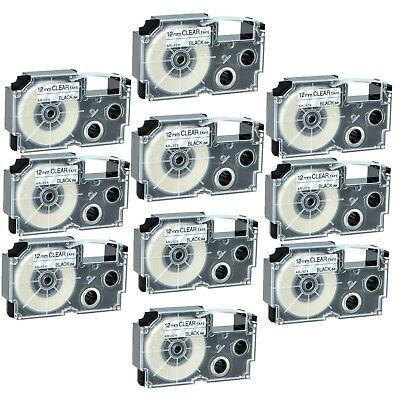 """10PK XR-12X Black on Clear Label Tape for Casio KL-60 100 7000 8200 8800 1/2"""""""