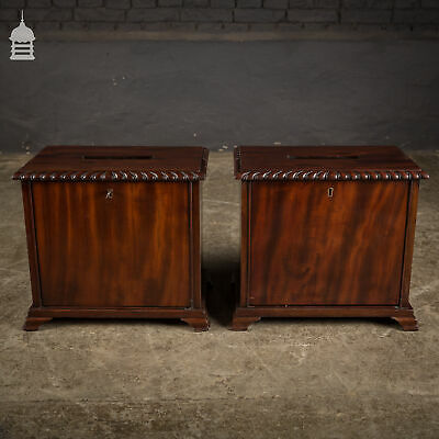 Pair of 19th C Flame Mahogany Ballot Boxes with Key