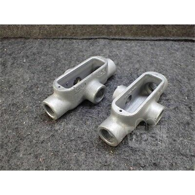 """Lot of 2 Eaton X28 Crouse-Hinds Conduit Body, 3/4"""", Form 8, Iron"""