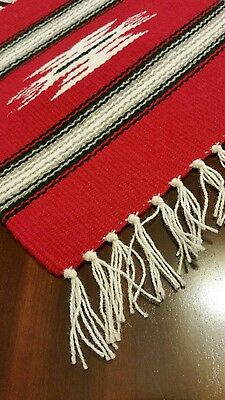 """Chimayo 100% Wool Textile 10"""" X 10"""" Bright Red  Weaving Made in New Mexico"""