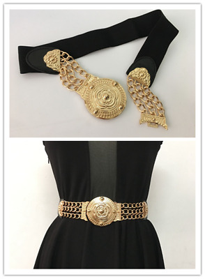 Flower wide waist belt band elastic metal gold plate black lattice women Gifts