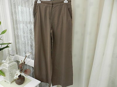 Ladies / Woman's / Girls Light Brown Linen Trousers Size 10S  ' Marks & Spencer'