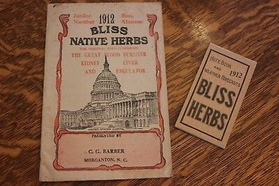1912 Alonzo Bliss Native Herbs Almanac, Notebook & Weather Forecasts. VERY RARE!