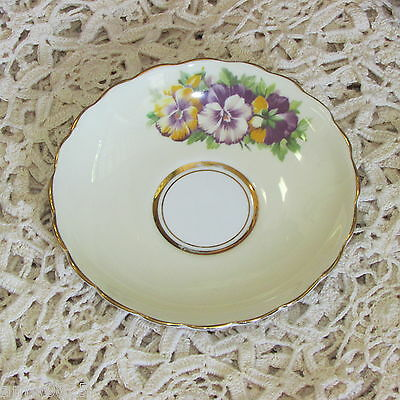 Vintage Rosina Bone China Yellow Saucer Purple Pansies Only No Cup England
