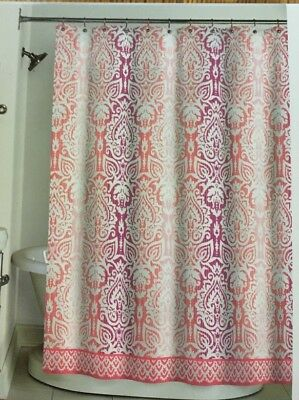 Serendipity Monique Fabric Shower Curtain Pink Coral Wine Damask Jacquard Look
