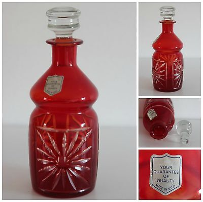 Antique Russian Burgundy Decanter & Stopper 23cm High