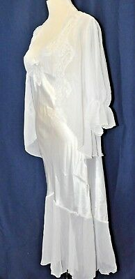 Miss elaine Me 2 vintage white set night gown chemise penoir Small Exceptional