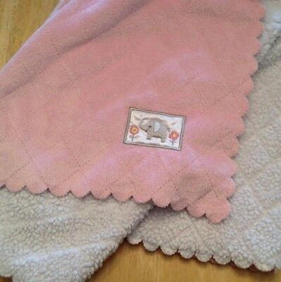 Carters Child of Mine Pink &White ELEPHANT Baby Blanket Quilted Scalloped Edges