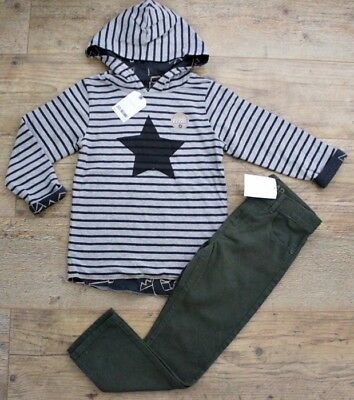 Next H&m Boys Bundle Outfit Star Jumper Hoodie Khaki Green Jeans Trousers 4-5 Y