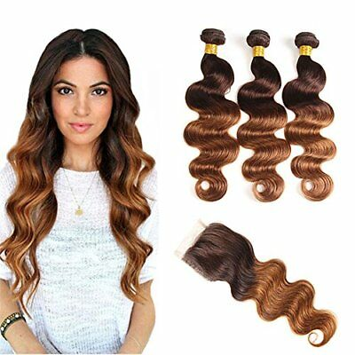 Elees Hair ombre Brazilian Virgin Hair Body Wave Remy Hair 2Tone T4/30ombre