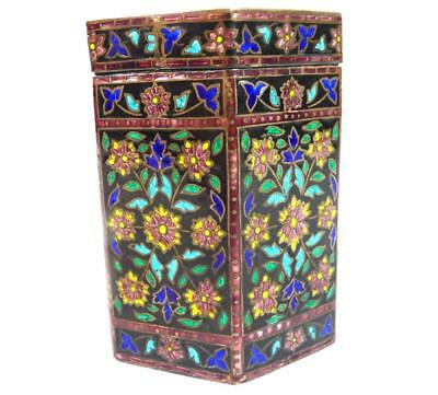 Vintage Indian 925 Silver & Enamel Hexagonal Box Tea Caddy Canister