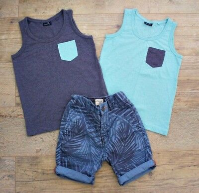 100% Next Boys Summer Spring Bundle Outfit Top Vest T-Shirt Shorts Age 5-6 Y