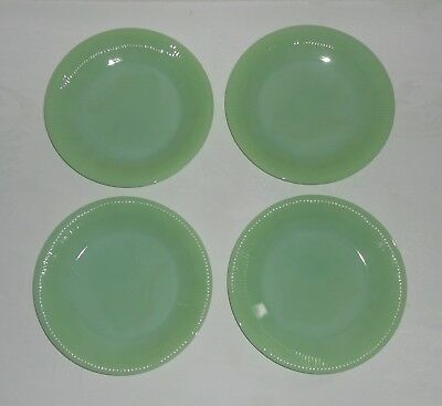 """NICE SET of 4 FIRE KING JADEITE 9"""" DINNER PLATES - JANE RAY PATTERN - EXCELLENT"""