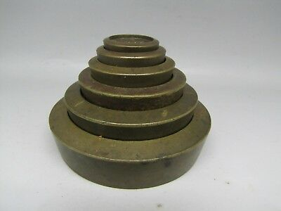 SET of ANTIQUE VICTORIAN BRASS SCALE WEIGHTS GRADUATED SCALES MEASURES