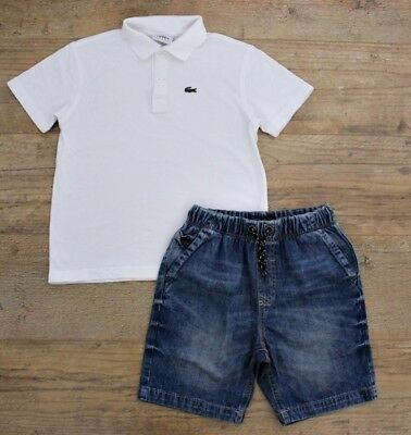 Lacoste Next Boys Summer Spring Bundle Outfit White Polo Top Shirt Shorts 9-10 Y