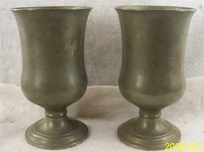 Pair of Antique American 19th Century Pewter Chalices attributed to I. Trask