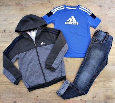 Adidas Next Boys Bundle Outfit Tracksuit Grey Jacket Blue Top Jeans Age 7-8 Y