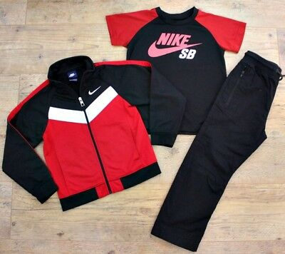 Nike Next Boys Bundle Outfit Tracksuit Red Black Jacket T-Shirt Trousers 6-7 Y