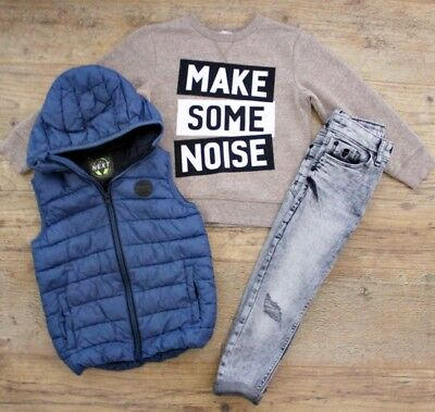 Next H&m Boys Bundle Outfit Grey Ripped Jeans Blue Jacket Gilet Jumper Age 5-6 Y