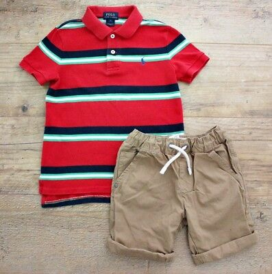 Ralph Lauren Next Boys Summer Spring Bundle Outfit Polo Top Shirt Shorts 5-6 Y