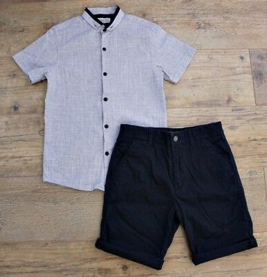 100% Next Boys Summer Spring Bundle Outfit Grey Shirt Navy Shorts Age 9-10 Y