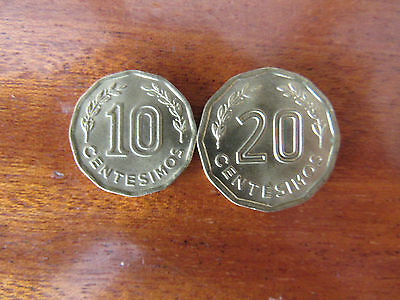 Uruguay- 10 and  20 Centesimos 1981 Aluminium Bronze Coin (2 coins)