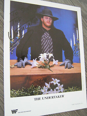 The Undertaker Autograph 1991 WWE Original Promo Photo 8,5x11 WWF Autogramm