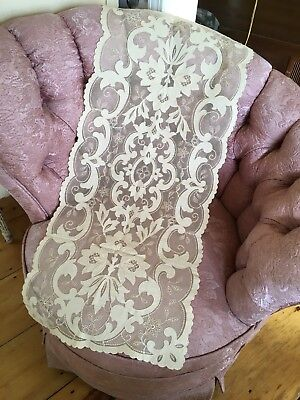 Gorgeous Antique French Tambour Lace Runner Ivory Netting Cotton Floral