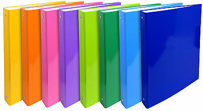 Ring Binders 4 ring Folders Files PVC Bright Assorted Colours 30mm - Pack 8