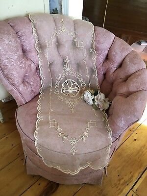 Antique Lace Table Runner French Tambour Cotton Ivory