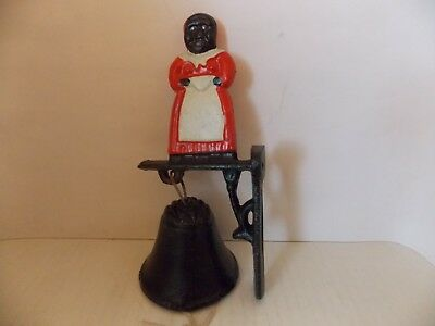 Cast Iron Dinner Bell wall Mount with Black Mammy Vintage American Collectibles
