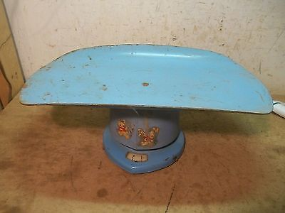 Old Blue Metal Baby Weighing Scale Doll Bed Decoration