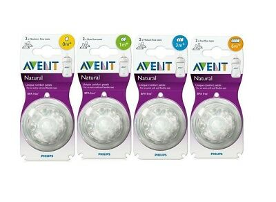 Philips Avent Natural Nipple 2pcs Choose Slow Medium Fast Flow NIP USA BPA FREE