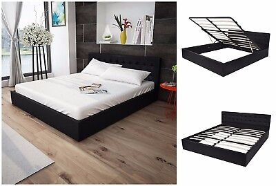 5ft King Ottoman Storage Bed Frame Gas Lift Faux Leather Black Bed Furniture New