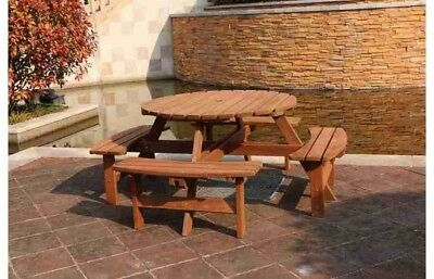 Wooden Picnic Table Bench Set Outdoor Round 8 Seater Table Pub Camping Furniture
