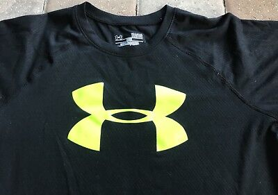 Under Armour Boys Youth Large YLG Short Sleeve T-Shirt Black & Yellow Dri-Fit