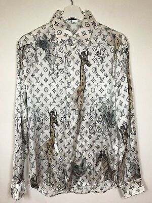 3e8493e92805 LOUIS VUITTON Chapman Brothers SILK MONOGRAM SHIRT - Preowned Size M Slim