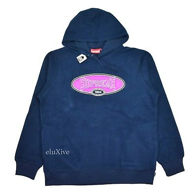 abecc4cbad74 NWT Supreme NY Mens Navy Reverse Fleece Logo Embroidered Hoodie SS18 L  AUTHENTIC