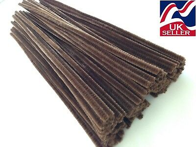 10 - 1000 BROWN chenille craft stems pipe cleaners 30cm long, 6mm wide