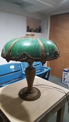 Antique Slag Curved Glass green Six Panel Electric Table Lamp - Nice Overlay