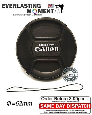 62mm Centre Pinch Lens Cap for Canon Canon Lenses with 62mm