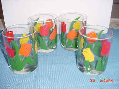 Vintage  Set Of Four (4) Glass Tumblers/highball  Bold Color Tulips   New/unused
