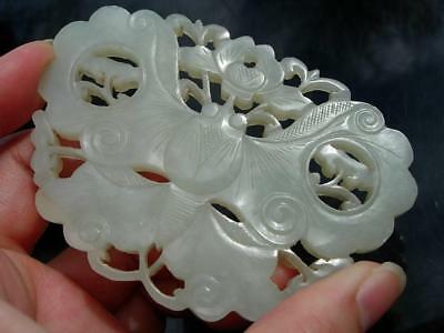 A Large Antique Chinese Carved White Jade Butterfly Form Pendant Plaque