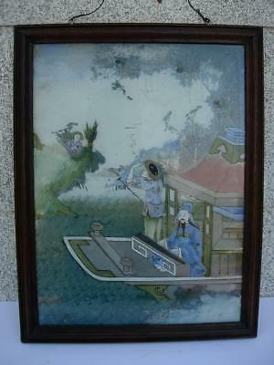 A Nice Framed Antique Chinese Reverse Painted Glass Plaque Panel