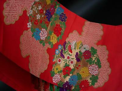 A Beautiful Antique Japanese Brocade & Embroidered Coral Red Silk Panel